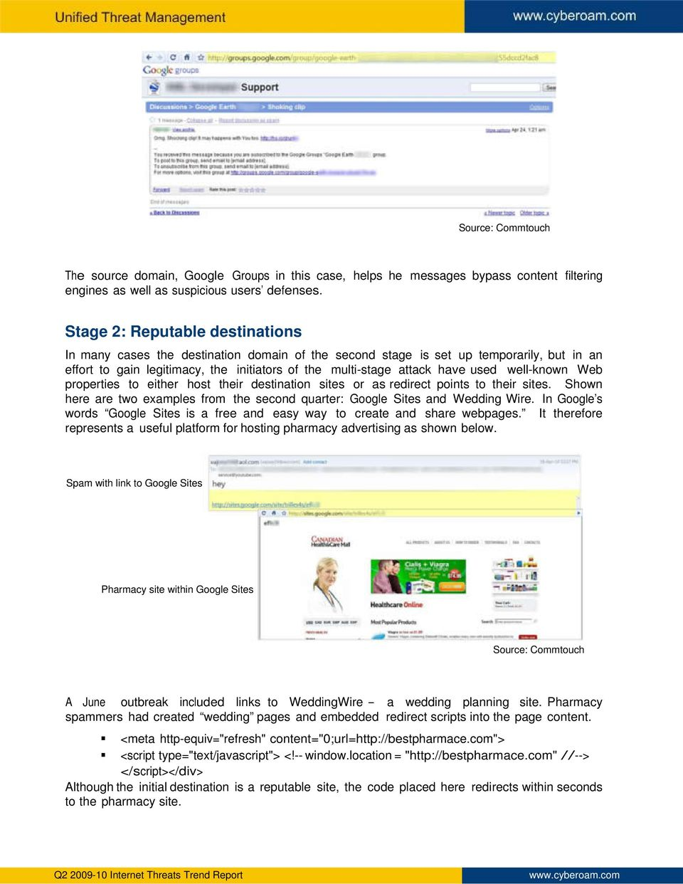 well-known Web properties to either host their destination sites or as redirect points to their sites. Shown here are two examples from the second quarter: Google Sites and Wedding Wire.