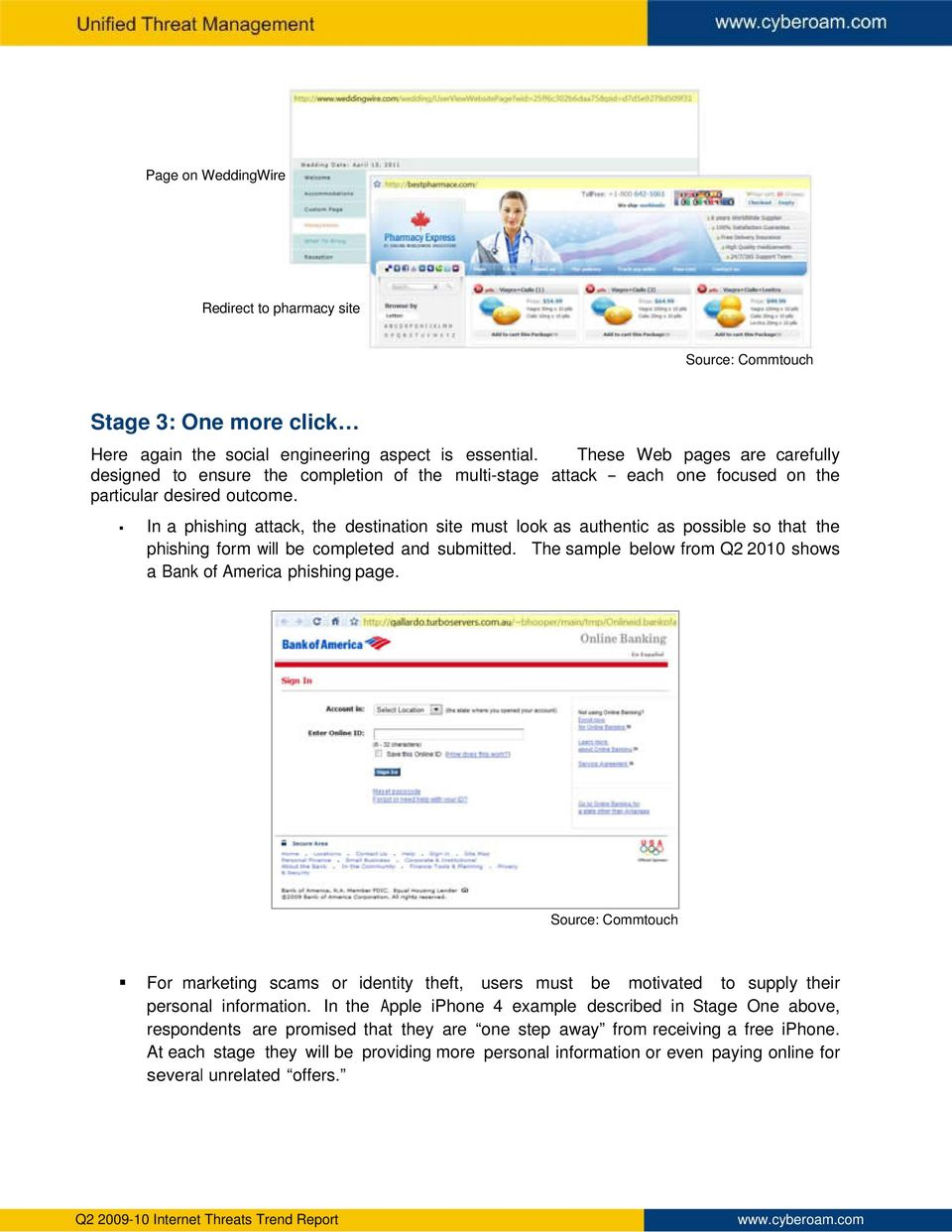 In a phishing attack, the destination site must look as authentic as possible so that the phishing form will be completed and submitted.