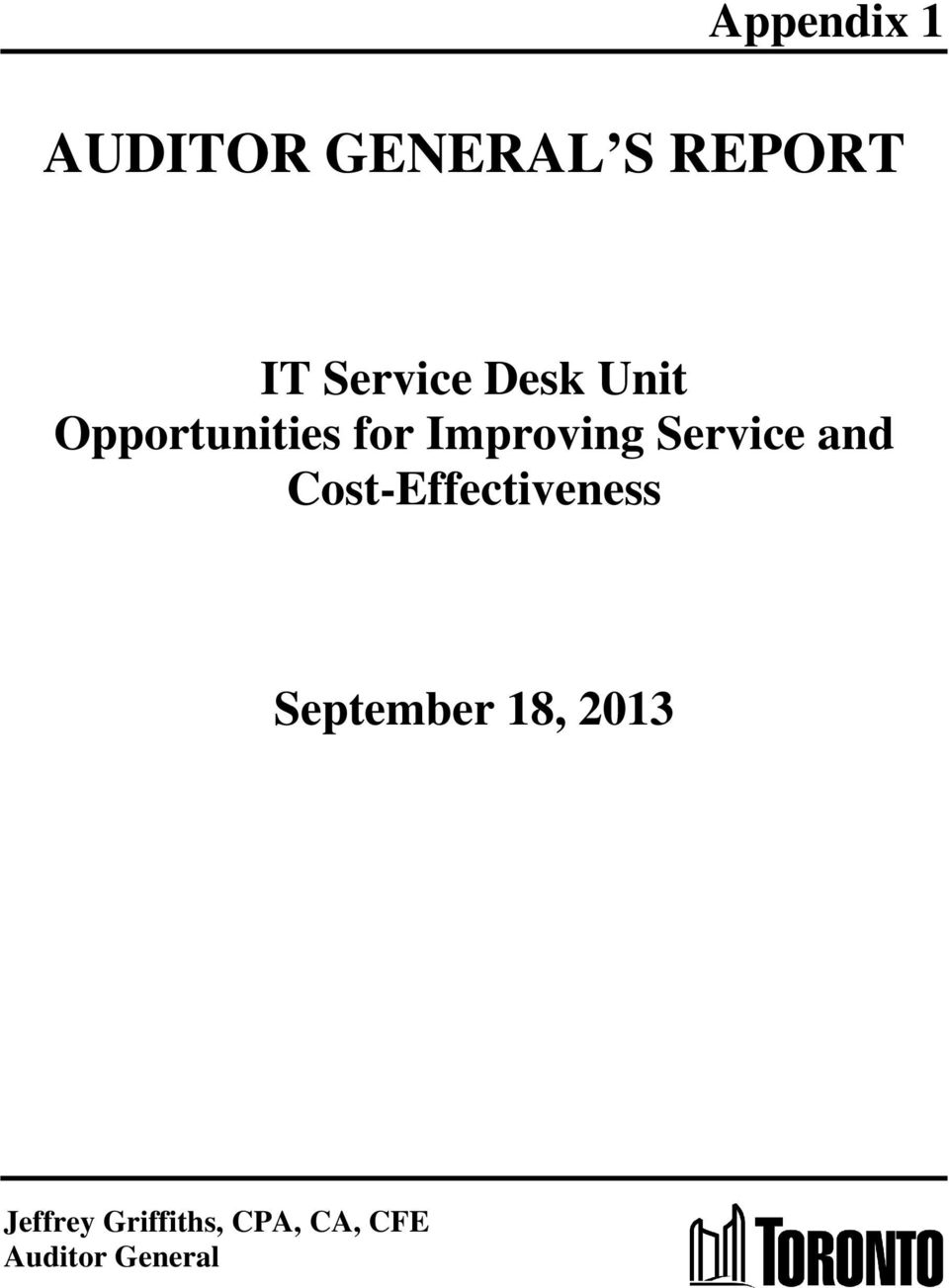 Service and Cost-Effectiveness September 18,