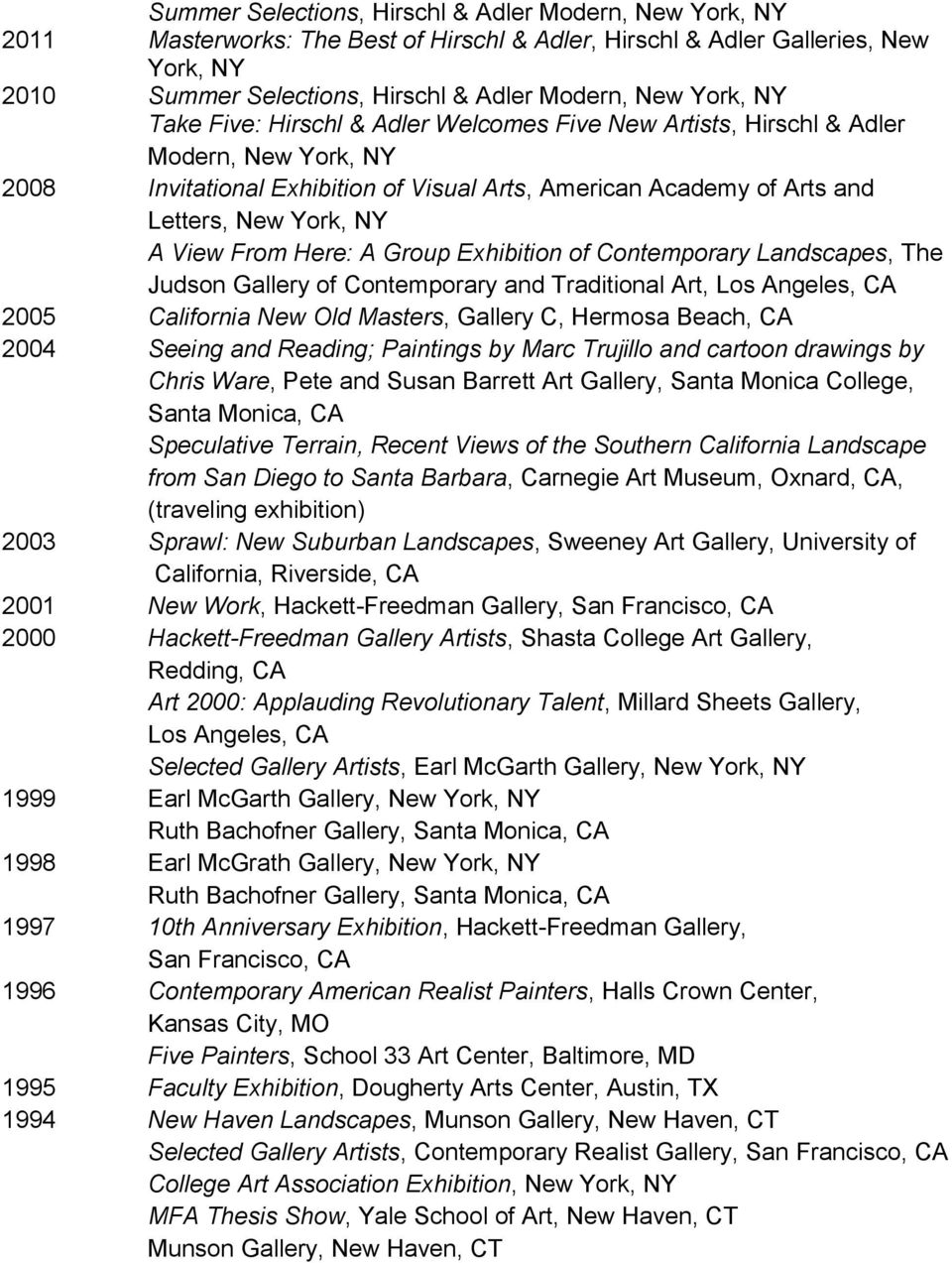 View From Here: A Group Exhibition of Contemporary Landscapes, The Judson Gallery of Contemporary and Traditional Art, Los Angeles, CA 2005 California New Old Masters, Gallery C, Hermosa Beach, CA