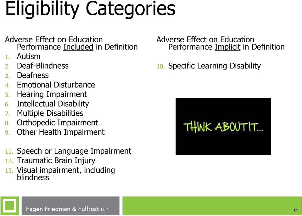 Orthopedic Impairment 9. Other Health Impairment Adverse Effect on Education Performance Implicit in Definition 10.