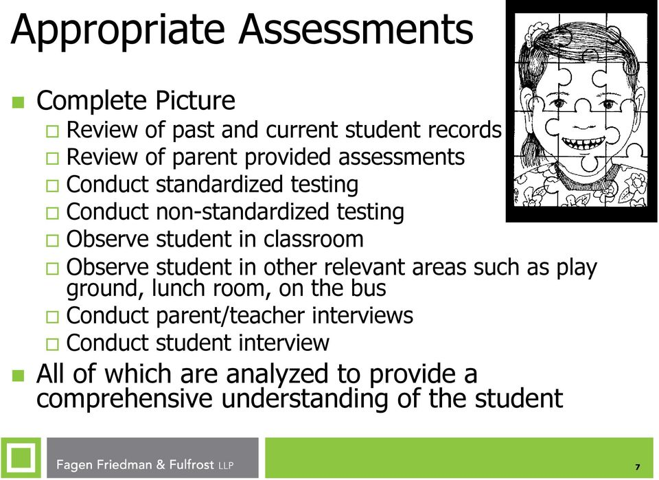 Observe student in other relevant areas such as play ground, lunch room, on the bus Conduct parent/teacher
