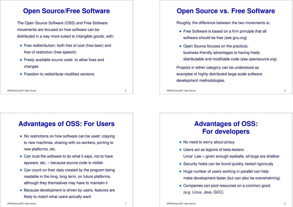 Free Software Roughly, the difference between the two movements is: Free Software is based on a firm principle that all software should be free (see gnu.