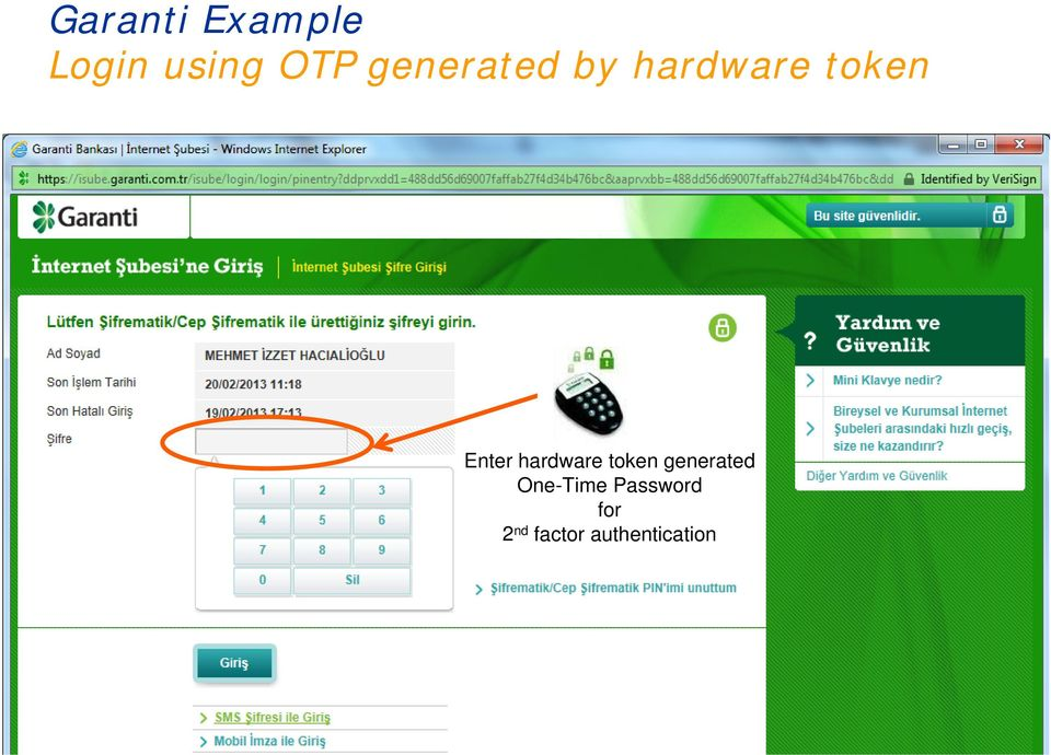 hardware token generated One-Time