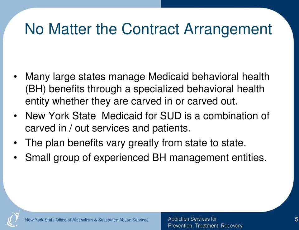 New York State Medicaid for SUD is a combination of carved in / out services and patients.