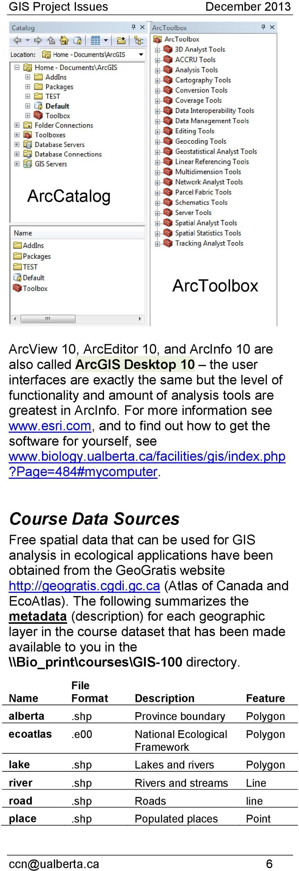 Course Data Sources Free spatial data that can be used for GIS analysis in ecological applications have been obtained from the GeoGratis website http://geogratis.cgdi.gc.