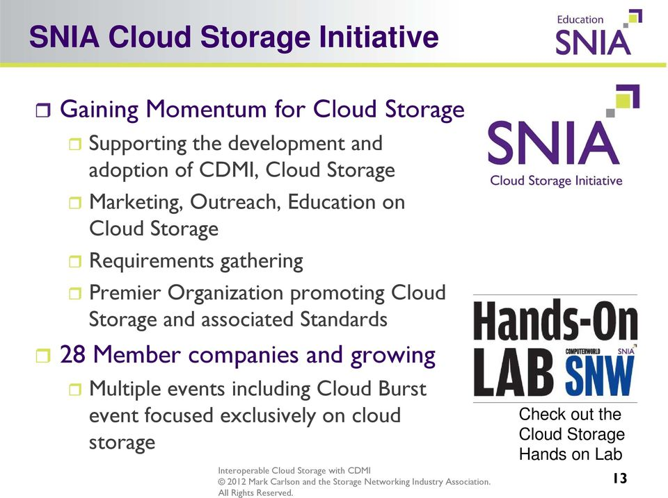 Organization promoting Cloud Storage and associated Standards 28 Member companies and growing Multiple