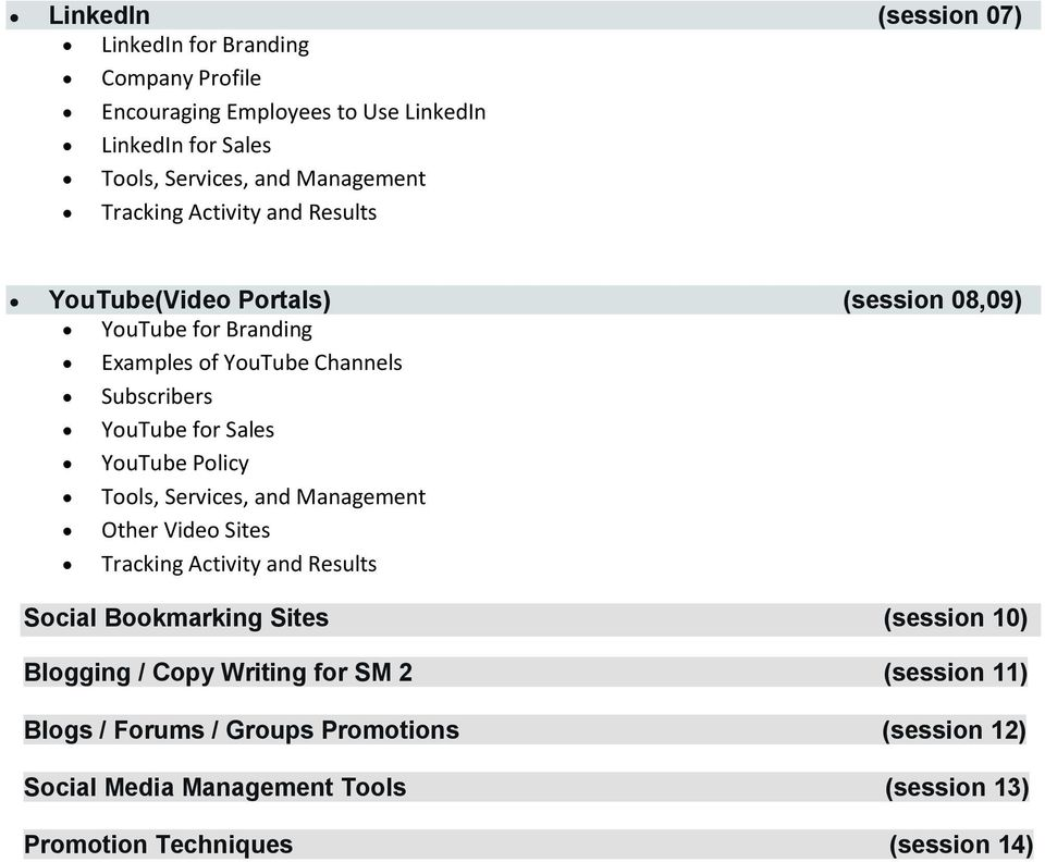 YouTube Policy Tools, Services, and Management Other Video Sites Tracking Activity and Results Social Bookmarking Sites (session 10) Blogging / Copy