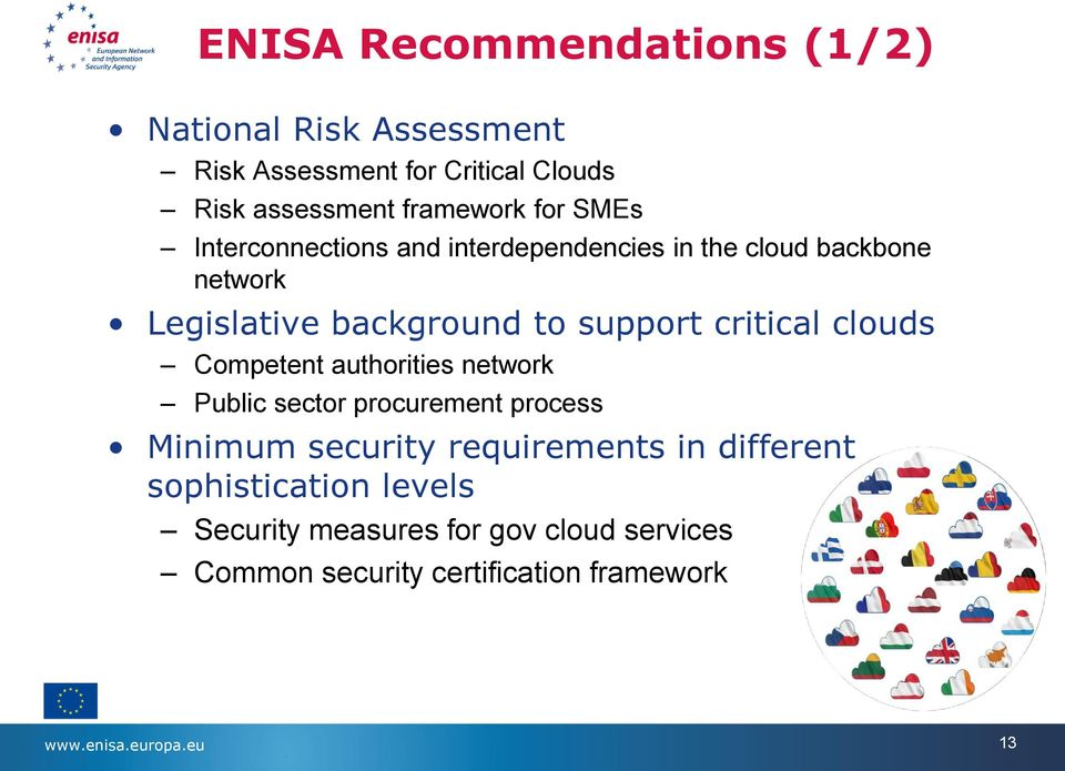 clouds Competent authorities network Public sector procurement process Minimum security requirements in different
