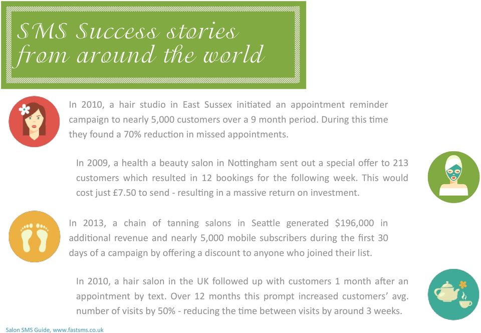 In 2009, a health a beauty salon in Nottingham sent out a special offer to 213 customers which resulted in 12 bookings for the following week. This would cost just 7.