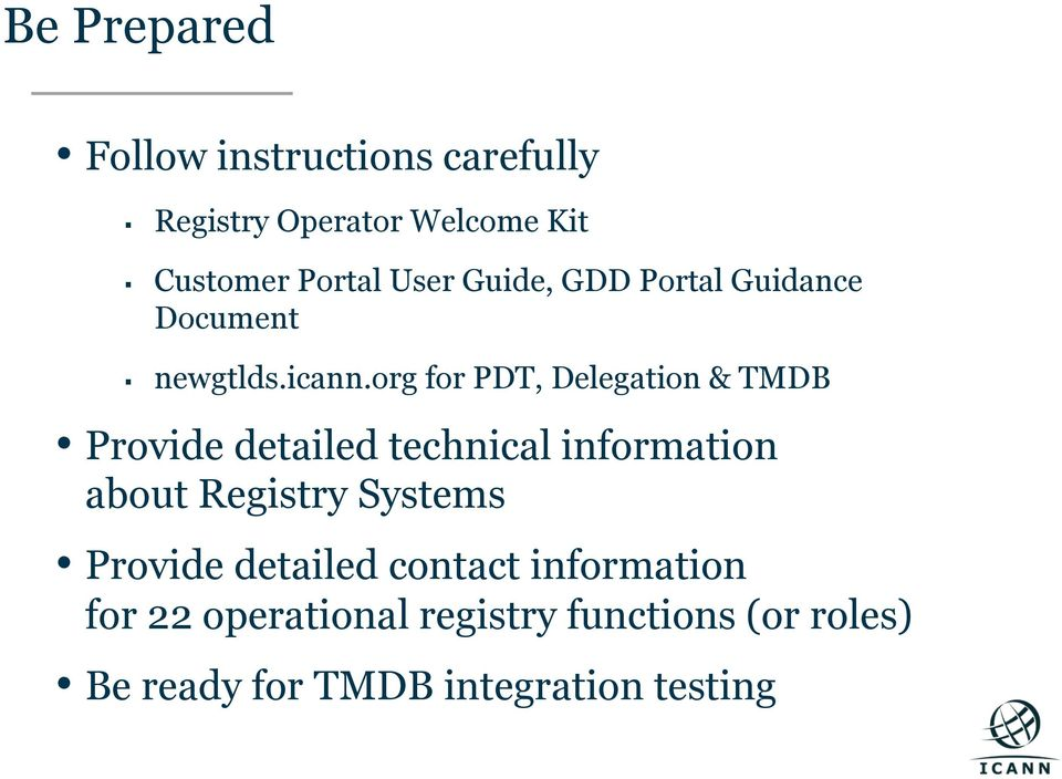 org for PDT, Delegation & TMDB Provide detailed technical information about Registry