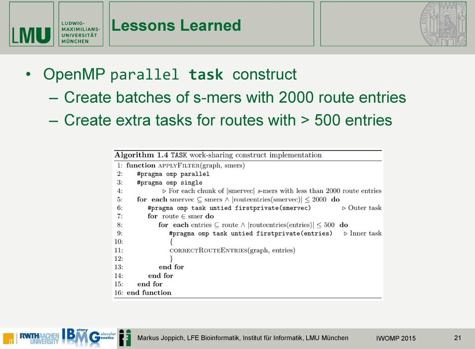 tasks for routes with > 500 entries Markus Joppich,