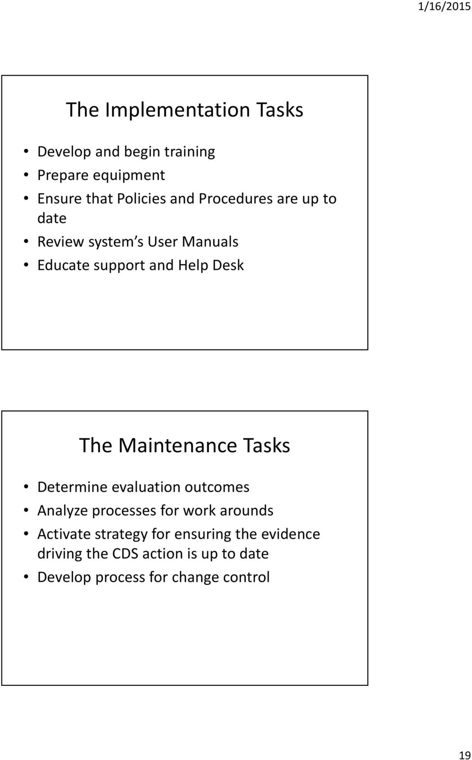 Maintenance Tasks Determine evaluation outcomes Analyze processes for work arounds Activate