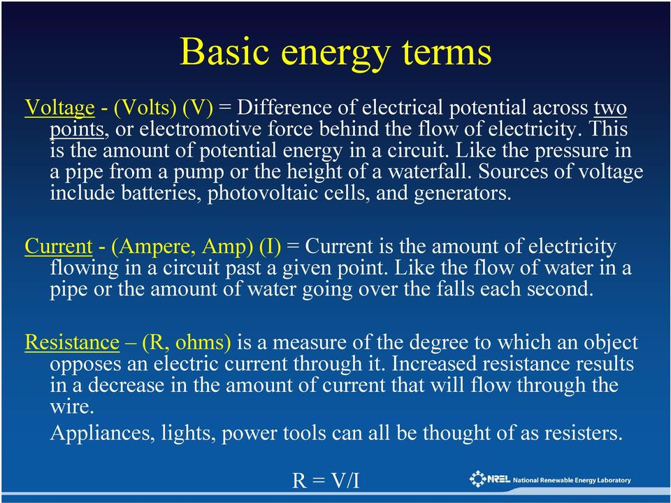 Current - (Ampere, Amp) (I) = Current is the amount of electricity flowing in a circuit past a given point. Like the flow of water in a pipe or the amount of water going over the falls each second.