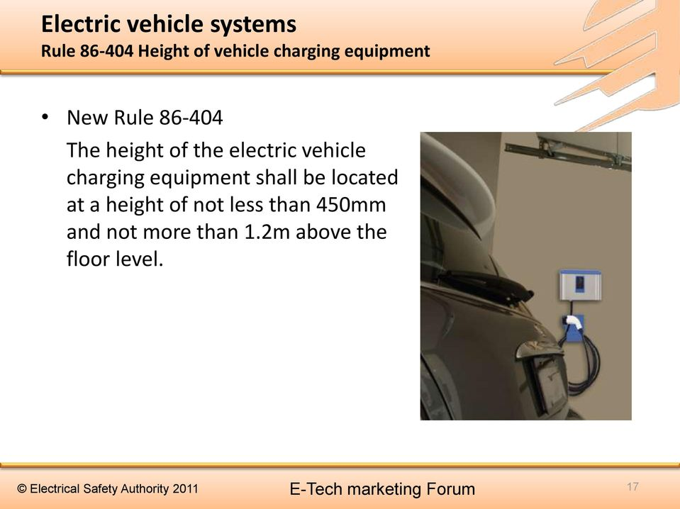 electric vehicle charging equipment shall be located at a