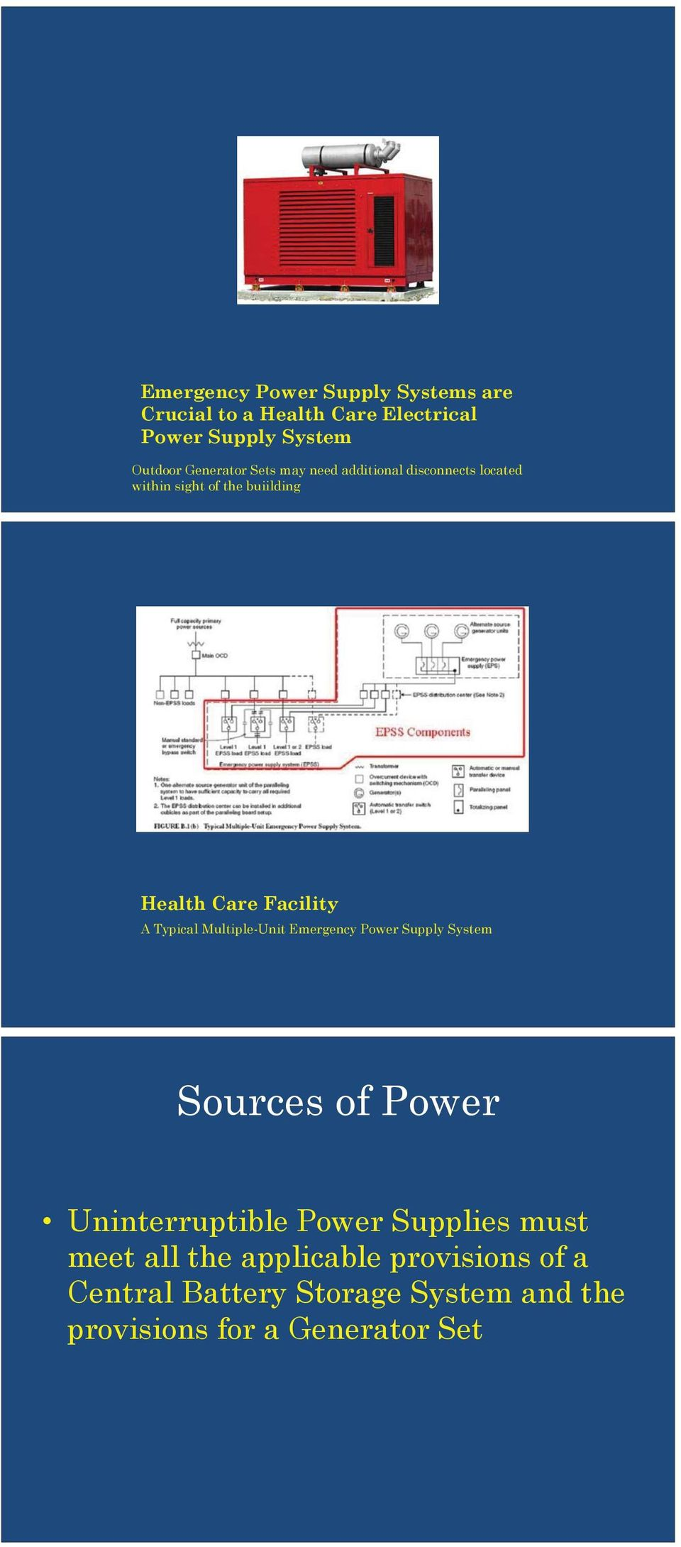 A Typical Multiple-Unit Emergency Power Supply System Sources of Power Uninterruptible Power Supplies