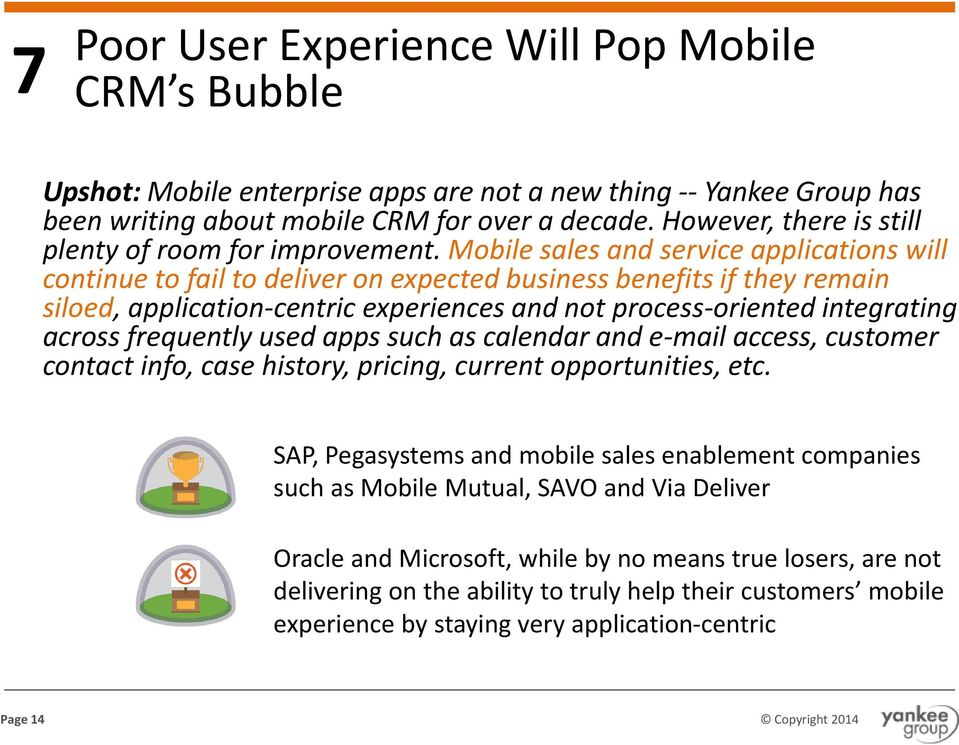 Mobile sales and service applications will continue to fail to deliver on expected business benefits if they remain siloed, application-centric experiences and not process-oriented integrating across