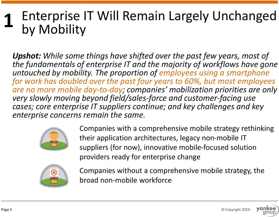 The proportion of employees using a smartphone for work has doubled over the past four years to 60%, but most employees are no more mobile day-to-day; companies mobilization priorities are only very