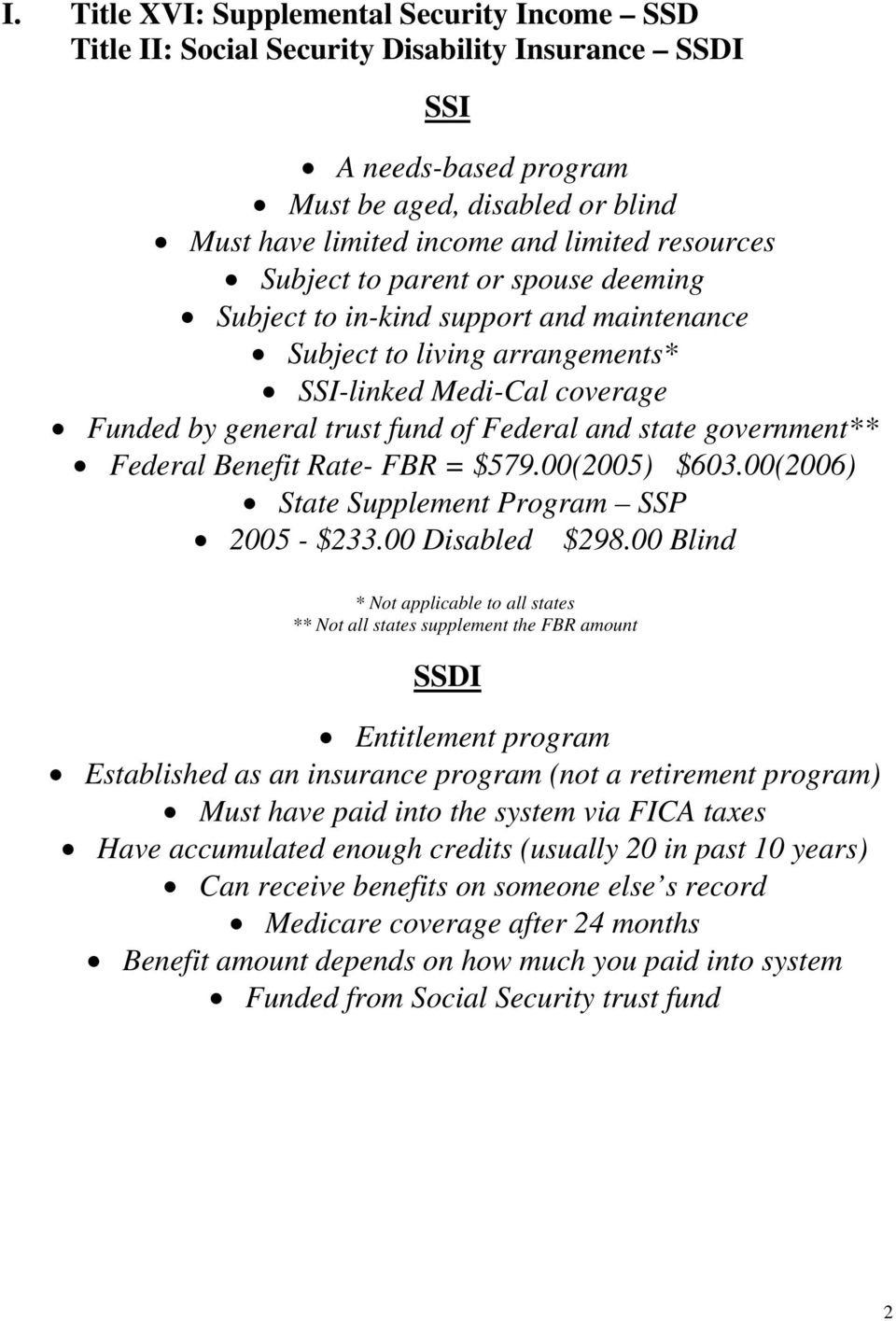 government** Federal Benefit Rate- FBR = $579.00(2005) $603.00(2006) State Supplement Program SSP 2005 - $233.00 Disabled $298.