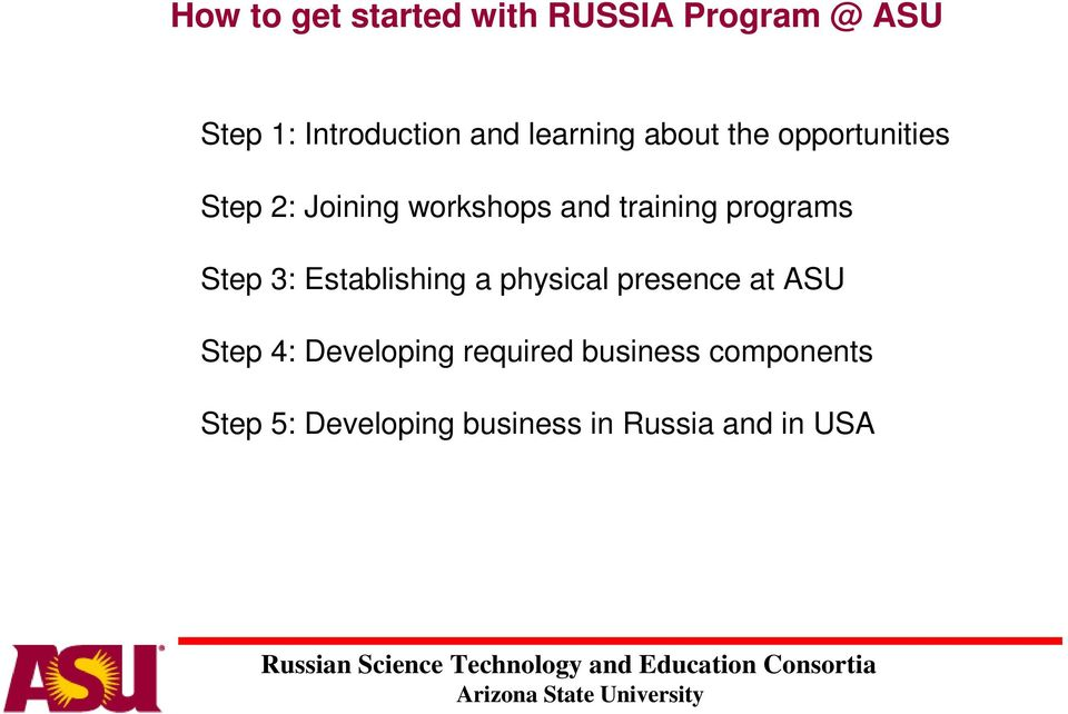 programs Step 3: Establishing a physical presence at ASU Step 4: