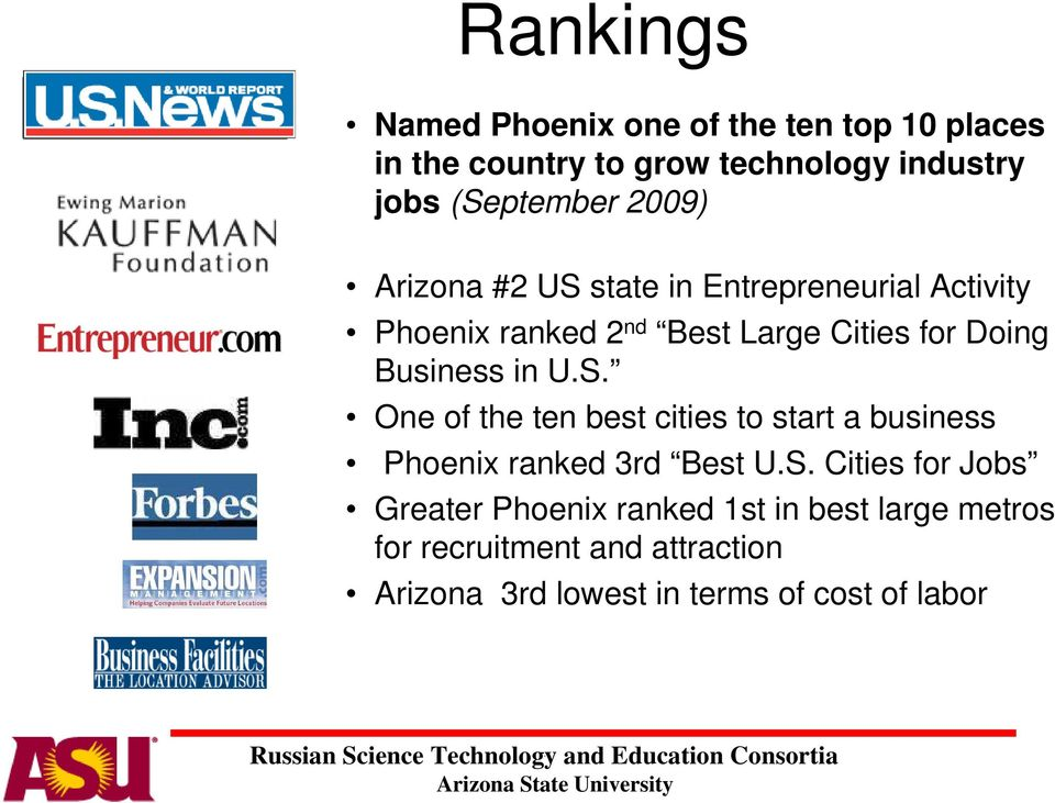 in US One of the ten best cities to start a business Phoenix ranked 3rd Best US Cities for Jobs Greater