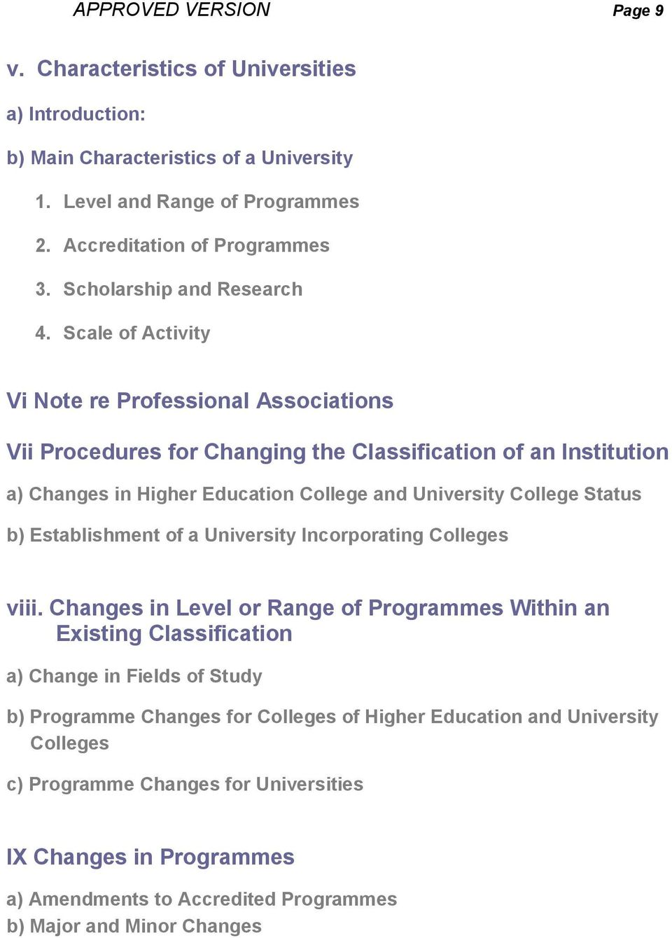 Scale of Activity Vi Note re Professional Associations Vii Procedures for Changing the Classification of an Institution a) Changes in Higher Education College and University College Status b)