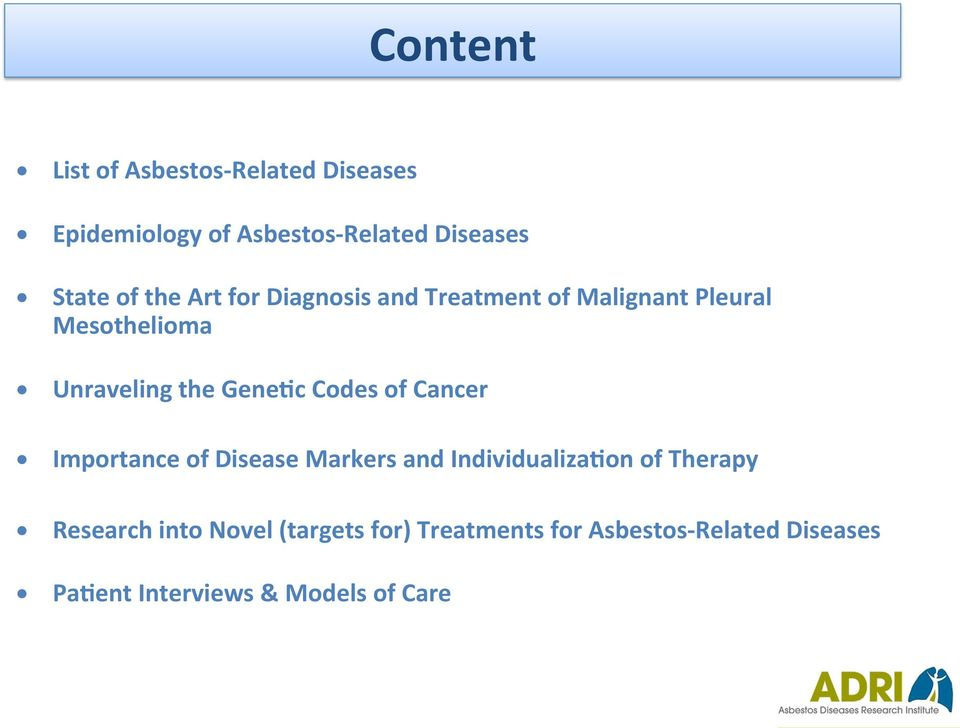 Gene#c Codes of Cancer Importance of Disease Markers and Individualiza#on of Therapy Research