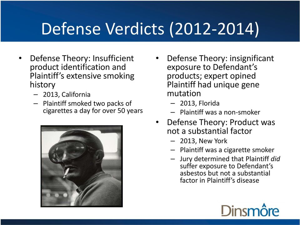 Plaintiff had unique gene mutation 2013, Florida Plaintiff was a non smoker Defense Theory: Product was not a substantial bt tilfactor 2013, New York
