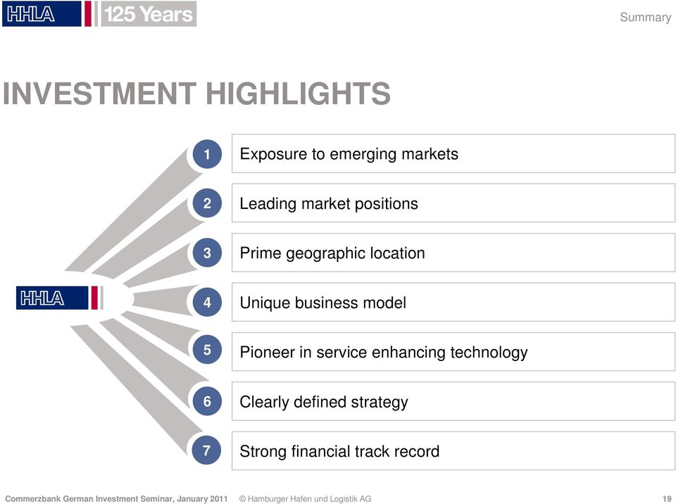 service enhancing technology 6 Clearly defined strategy 7 Strong financial track