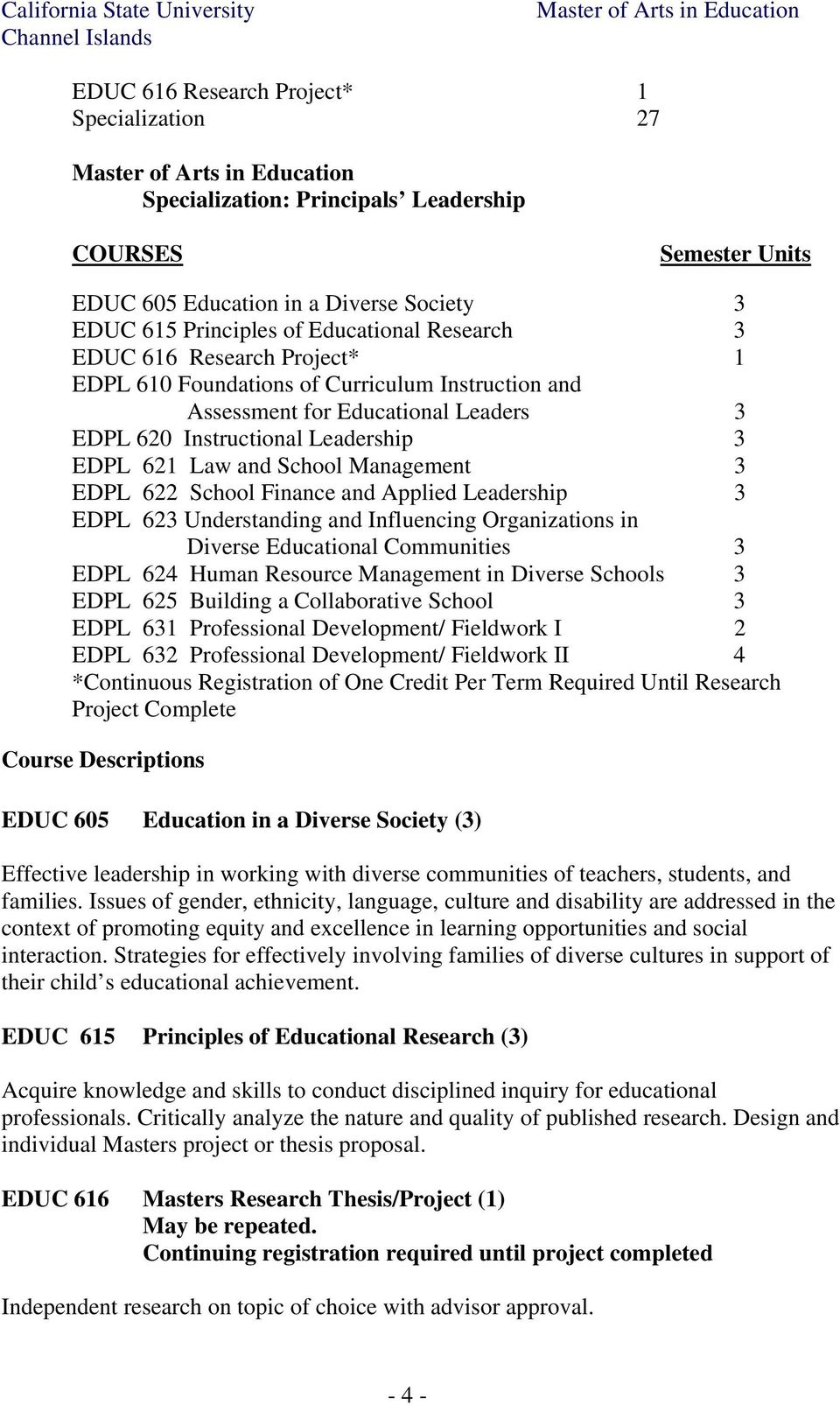 School Finance and Applied Leadership 3 EDPL 623 Understanding and Influencing Organizations in Diverse Educational Communities 3 EDPL 624 Human Resource Management in Diverse Schools 3 EDPL 625