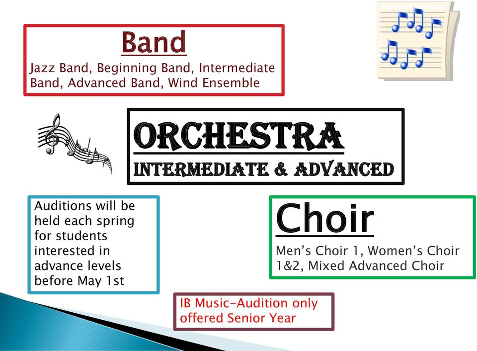 for students interested in advance levels before May 1st Choir Men s Choir 1,