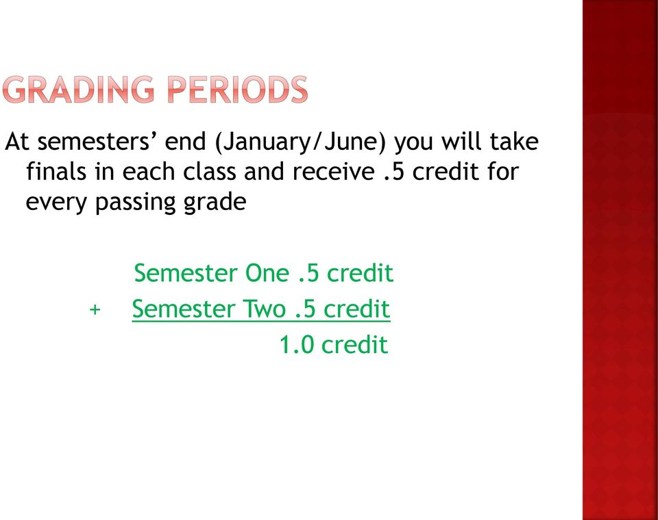 5 credit for every passing grade Semester