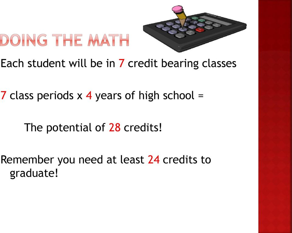 school = The potential of 28 credits!