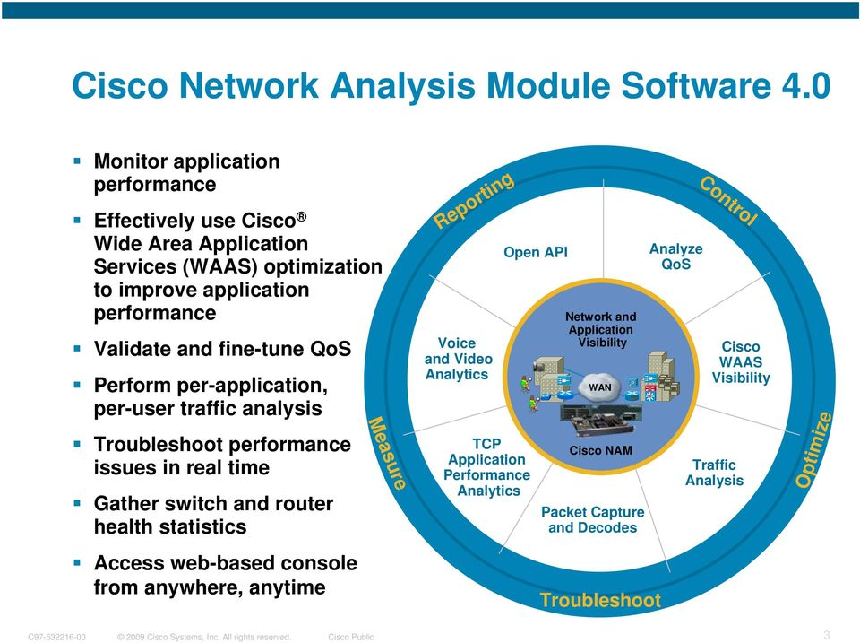 fine-tune QoS Perform per-application, per-user traffic analysis Troubleshoot performance issues in real time Gather switch and router health statistics Access