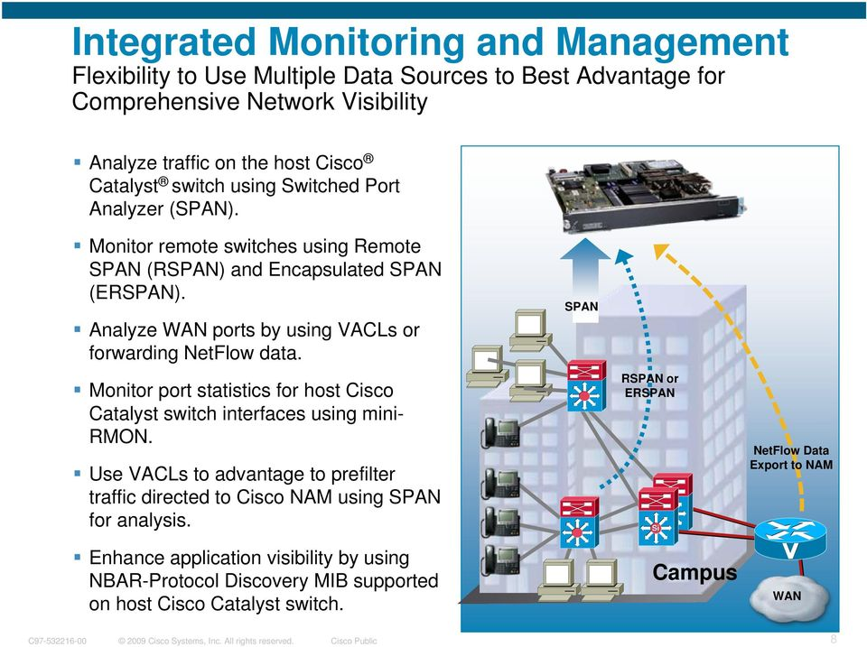 Analyze WAN ports by using VACLs or forwarding NetFlow data. Monitor port statistics for host Cisco Catalyst switch interfaces using mini- RMON.