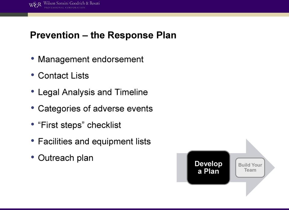 of adverse events First steps checklist Facilities and