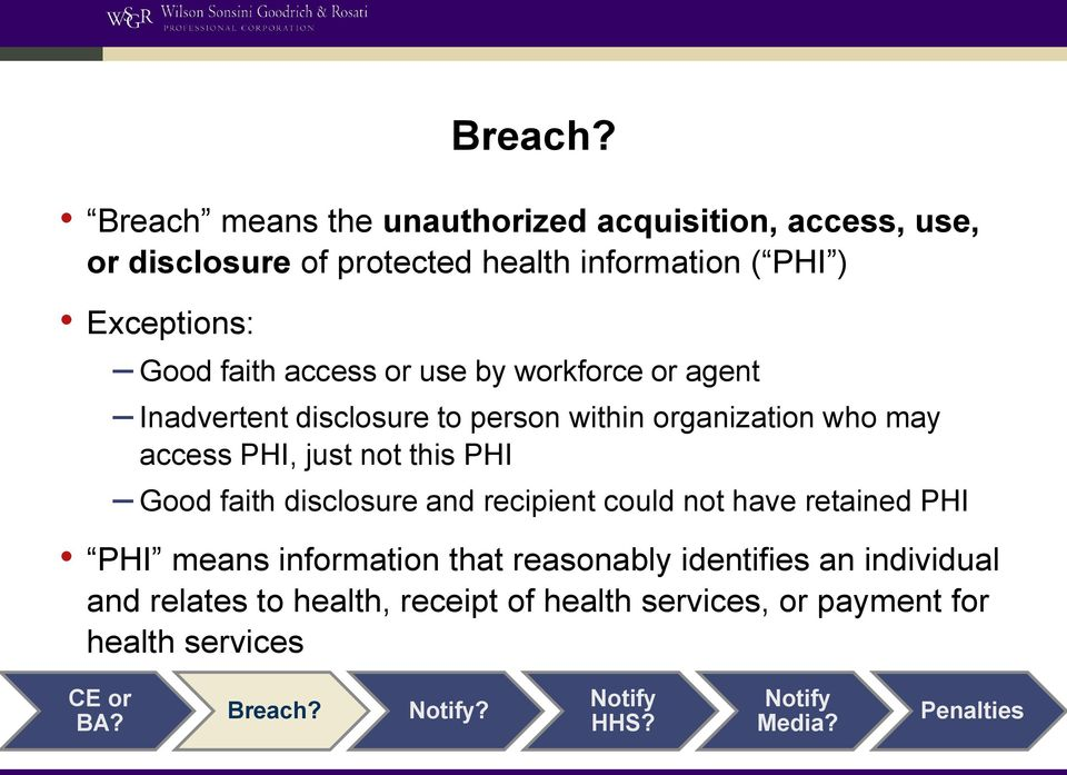 faith access or use by workforce or agent Inadvertent disclosure to person within organization who may access PHI, just not this