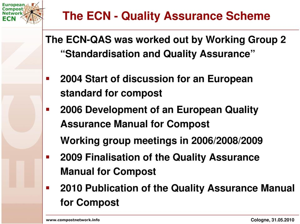 European Quality Assurance Manual for Compost Working group meetings in 2006/2008/2009 2009