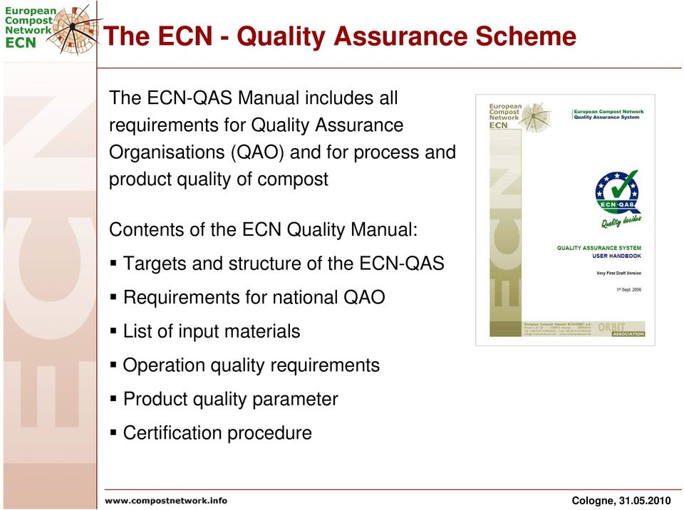 ECN Quality Manual: Targets and structure of the ECN-QAS Requirements for national QAO List