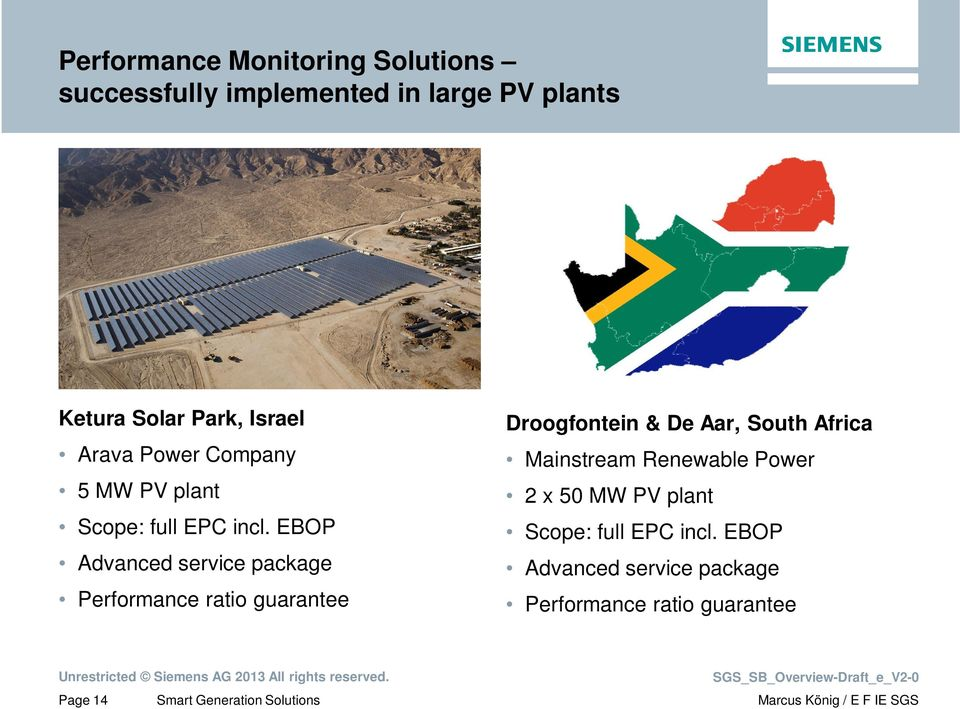 EBOP Advanced service package Performance ratio guarantee Droogfontein & De Aar, South Africa