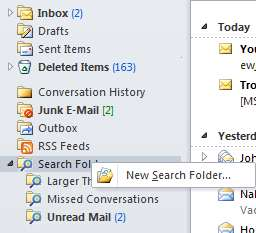 Strategy 2: Using Search Folders Another strategy is to look for emails with large attachments that you no longer need, or have already saved and no longer need in your mailbox.