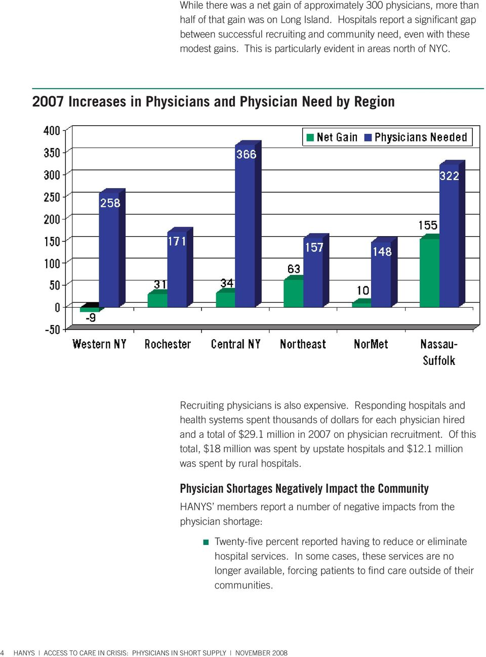 2007 Increases in Physicians and Physician Need by Region Recruiting physicians is also expensive.