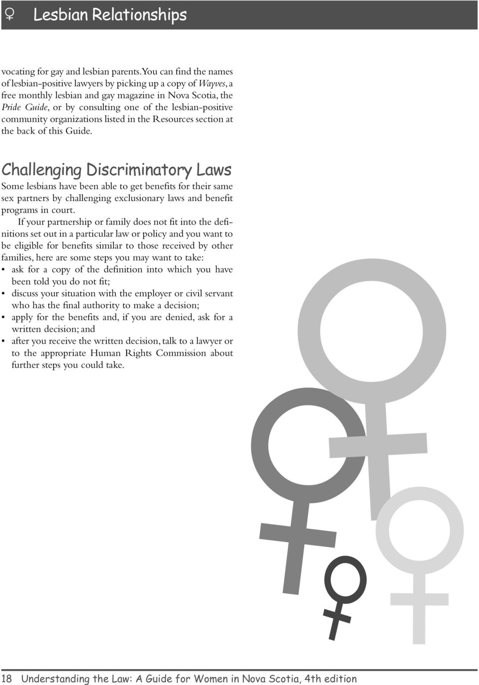lesbian-positive community organizations listed in the Resources section at the back of this Guide.