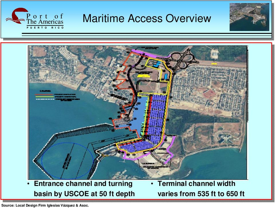 channel width varies from 535 ft to 650 ft