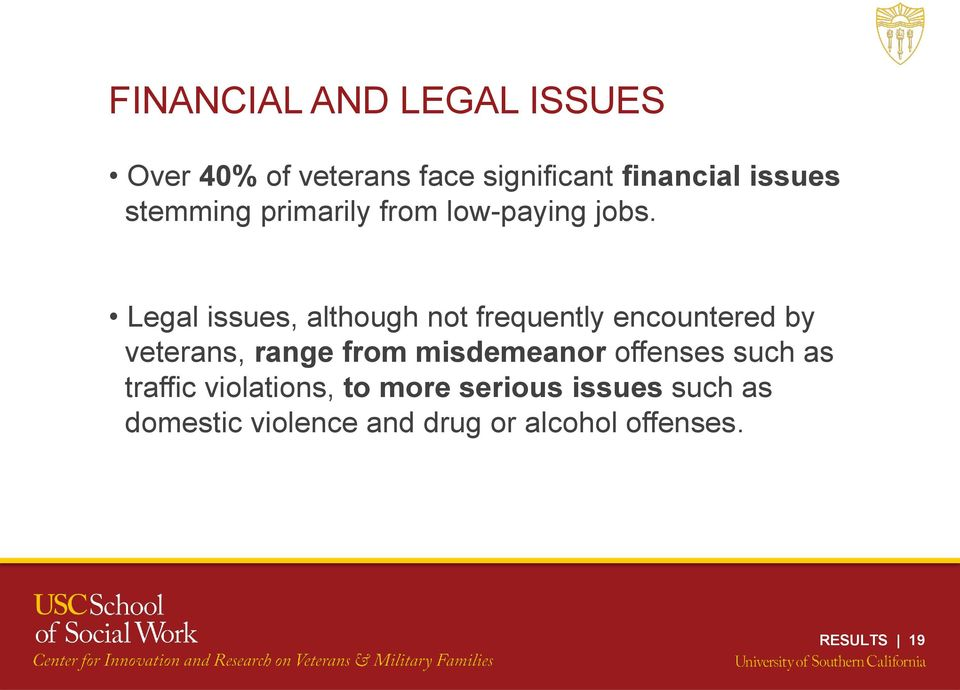 Legal issues, although not frequently encountered by veterans, range from