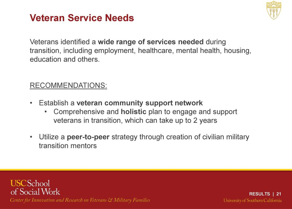 RECOMMENDATIONS: Establish a veteran community support network Comprehensive and holistic plan to engage and