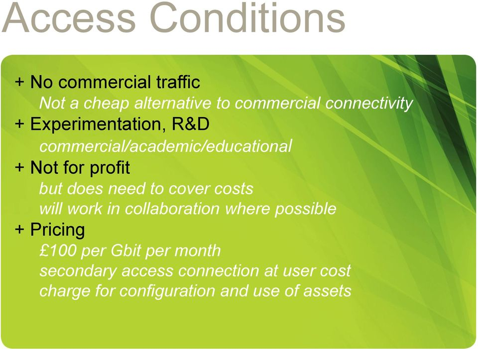 but does need to cover costs will work in collaboration where possible + Pricing 100