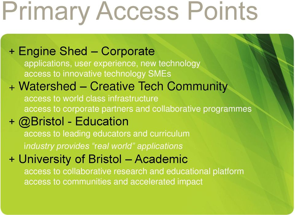 programmes + @Bristol - Education access to leading educators and curriculum industry provides real world applications +
