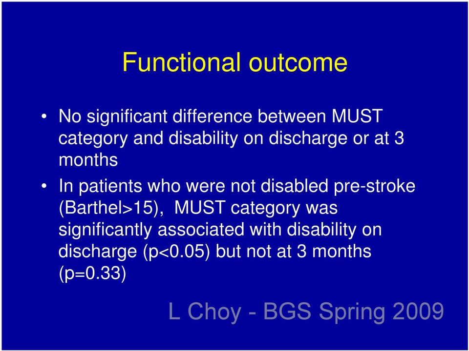 disabled pre-stroke (Barthel>15), MUST category was significantly
