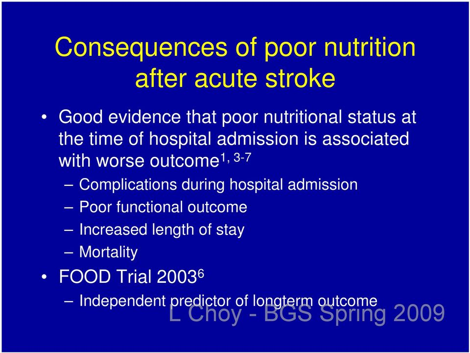 outcome1, 3-7 Complications during hospital admission Poor functional outcome